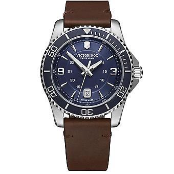 Victorinox Maverick Quartz Blue Dial Brown Leather Strap Men's Watch 241863