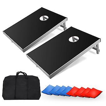 Portable Solid Aluminum Board Cornhole Bean Bag Toss Game Set Sandbag Sports Outdoor Park Toy Throwing Game W/ Carry Bag