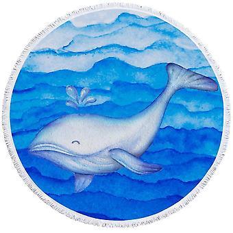Sininen söpö valas ranta pyyhe