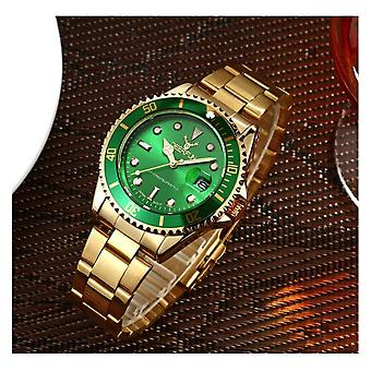Genuine Deerfun Homage Watch Green Gold Date Watches Quality Time Clock