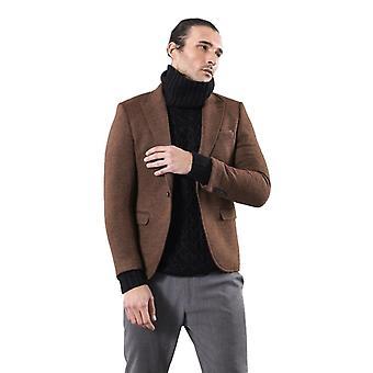 Brown slim fit jacket for men | wessi