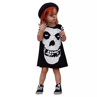 Short Sleeve Girls Halloween Skull Costume