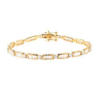 ELANZA Link White Cubic Zirconia Yellow Gold Plated Sterling Silver Bracelet