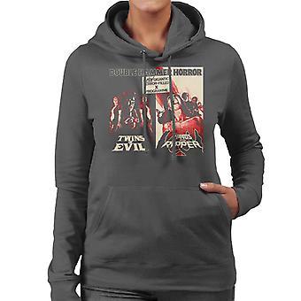 Hammer Horror Films Twins Ripper Terrifying Double Bill Women's Hooded Sweatshirt