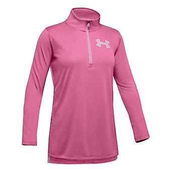 Under Armour Tech 1/2 Zip Kids Girls Long Sleeve Fitness Training Shirt Pink