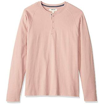 Goodthreads Men's Long-Sleeve Sueded Jersey Henley, Pink, Small