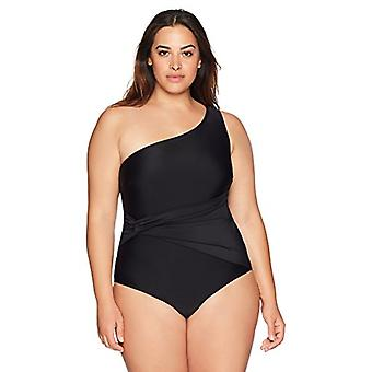 Brand - Coastal Blue Women's Plus Size Shoulder Gathered Side One Piec...
