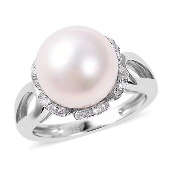 Solitaire Edison Pearl Ring Femmes Sterling Argent Blanc Zircon, 10 Ct TJC