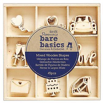 Papermania Bare Basics Wooden Shapes Wedding (45pcs) (PMA 174747)