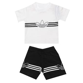 Boy's adidas Originals Baby Outline T-Shirt And Shorts Set in White