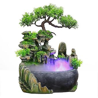 Flowing Water Desktop Waterfall Fountain With Color Changing Led Lights Spray -