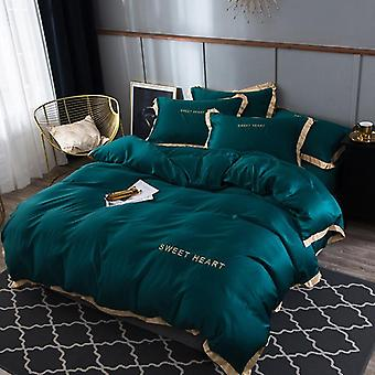 Modern Luxury Solid Color Flat Bed Sheet Brief Duvet Cover Set