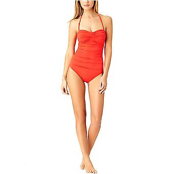 Anne Cole Women's Twist Front Shirred One Piece Swimsuit, Nuevo Rojo, Tamaño 10.0