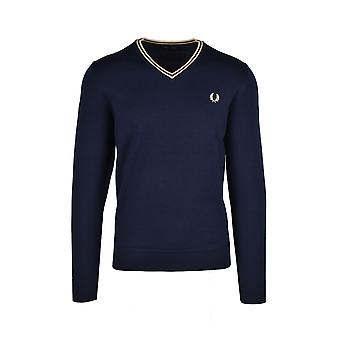 Fred Perry Classic V Neck Jumper Navy/Champagner