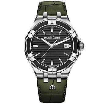 Maurice Lacroix Aikon Quartz Black Dial Green Leather Strap Mens Watch AI1008-PVB21-330-1