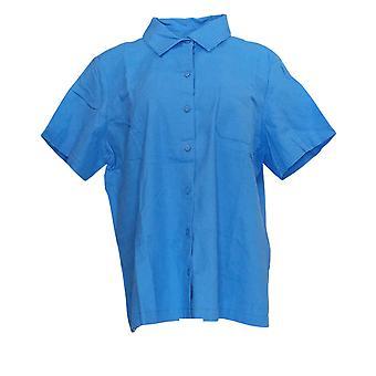 الدنيم وشركاه المرأة & apos&s أعلى قصيرة الأكمام معسكر قميص W / الصدر جيب الأزرق A353999
