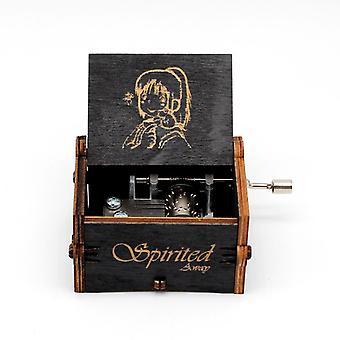 Antika snidade trähand Crank Pigg Away Music Box