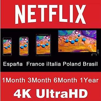 1 חודש-נטפליקס פרימיום חשבון 1 שנה España-נטפליקס Abonnement-1 Untrl Hd-4k אניו אספניול נטפליקס 1 Année צרפת