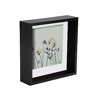 Nicola Spring 2 Pieza 6 x 6 3D Sombra Deep Box Photo Frame Set - Craft Display Picture Frame - Negro