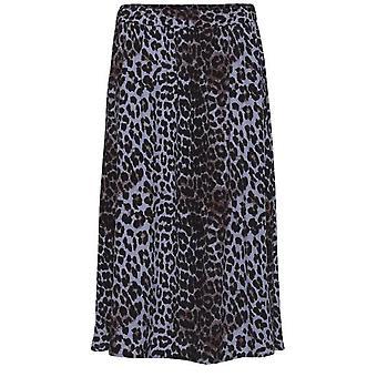 b.young Blue Leopard Print Skirt