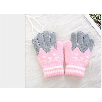 Cat Splice Mittens Winter Baby Knitted Gloves Warm Rope Full Finger Mittens Gloves For Children