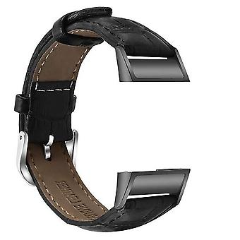for Fitbit Charge 4 & Charge 3 Leather Strap Band Bracelet Wristband Replacement[Black]