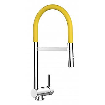 Underwindow Single-lever Kitchen Sink Mixer Yellow Folding Spout And 2 Jets Shower - 111