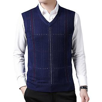 Allthemen Men's V-neck Knitted Vest Classic Plaid Casual Winter 4 Colors