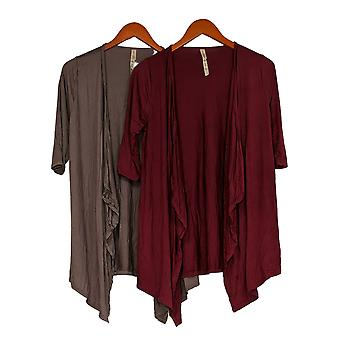 Rhonda Shear Mujer's Suéter 2-Pcs Rojo/Beige Cardigan Rayon 678-555