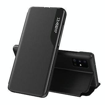 Voor Galaxy A51/M40S/A31/A51 5G Side Display Magnetic Shockproof Horizontale Flip Lederen behuizing met houder(zwart)