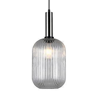 Cristaltina pendurada moderna níquel 1 luz com sombra clara, E27