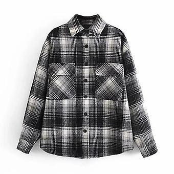 Casual Plaid Autumn Spring Batwing Long Sleeve Loose Pocket Coat
