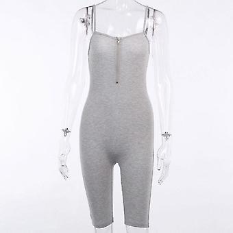 Letní sexy streetwear bez rukávů Skinny Bodycon Pevné pletené sportovní kombinézy