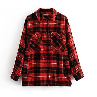 Automne/hiver Plaid Oversize Jackets Loose Casual Checker Streetwear Coat