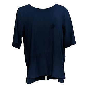 Cuddl Duds Women's Top Flexwear Elbow-Sleeve Asymmetric Peplum Blue A346871