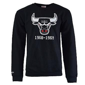 Mitchell & Ness Mens Chicago Bulls Crew Sweatshirt Jumper TEAMLOGOCREW CHIBUL BK