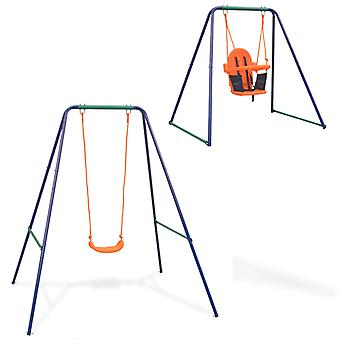 2-in-1 single swing ja taapero swing oranssi