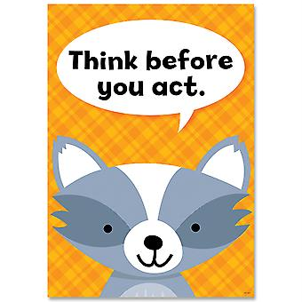 Think Before You Act Woodland Friends Inspire U Affiche