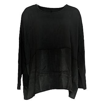 Chiunque donna top accogliente maglia oversize long slv satinato trim nero A367657