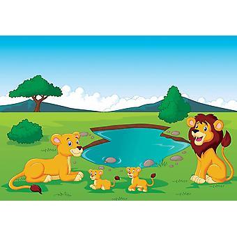 Tapete Wandbild Cartoon Savannah Landschaft mit Tieren und Wasserloch (27166375)