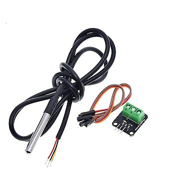 Ds18b20 Temperature Sensor Module Kit Waterproof Terminal Adapter For Arduino