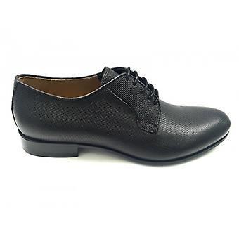 Men's Shoes Ben.ter Laced Derby Black Damask F.Leather Handmade Us16bt06