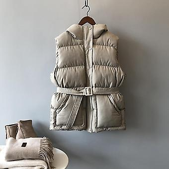 Cotton Vest Women Winter Loose Hooded Colete Quente com Cinto