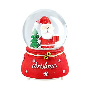 Musical Crystal Globe with Santa and Tree- Red and Green