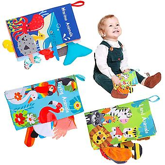 SOSPIRO 3 Pack Baby Soft Books,Baby Bath Cloth Book with 3D Fabric Animal Tails, First Year Sensory