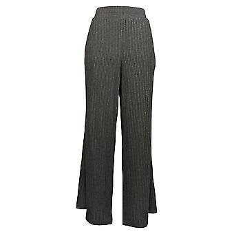 Nogen Kvinder 's Bukser Plys Wide Leg Ribbed Afslappet Pull On Gray A388562