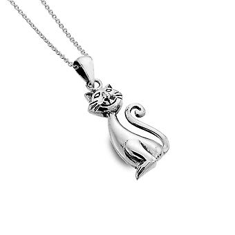 Sterling Silver Pendant Necklace - Origins Cat Curly Tail