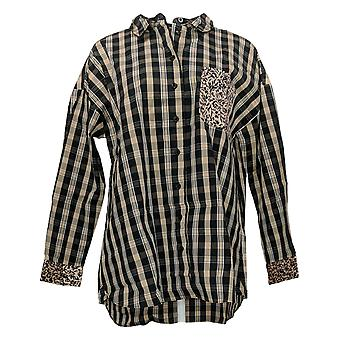 إسحاق مزراحي لايف! Women & apos;s Top Plaid Poplin Shirt w/ Pocket Brown A387797