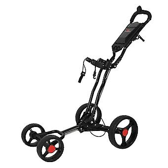 4 hjul Golf Push Cart, Enkel vikning, aluminiumlegering med fast punkt paraply