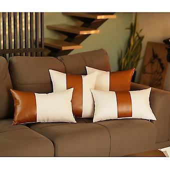 Weiß und braun Kunstleder Quadratische Kissenbezug
